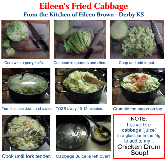 Eileen's Fried Cabbage - A Visual Aid.