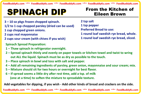 Spinach Dip Recipe Card Image 4 x 6