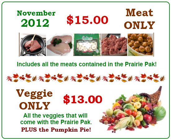 November 2012 Meat and Veggie Only Paks