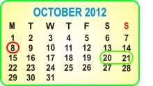 October 2012 Order and Pick-Up Dates