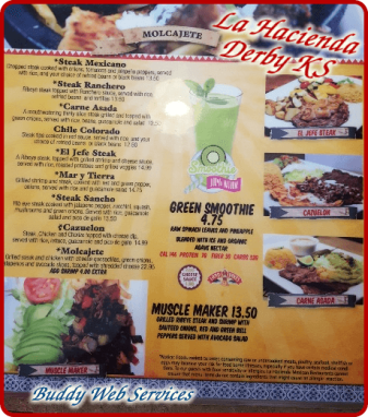 La Hacienda Steak Menu